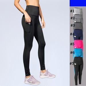 Pantaloni a vita alta pantaloni di yoga di yoga con tasche pancia di controllo 4 modi Stretch allenamento in esecuzione di yoga Leggings