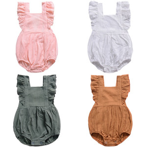 Baby Romper INS 2019 Summer Girls Clothes Solid Color Fly Sleeve Jumpsuit One-pieces Bodysuit Infant Newborn Kids Clothing 4 Color 4 Size Q4