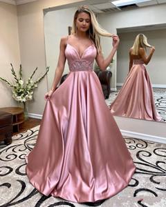 2020 Elegante Rosa frisada Um Império Linha Prom Dresses Spaghetti Pescoço V cintura Formal Vestido Plus Size Trem da varredura Cetim Vestidos