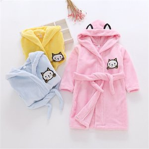 Girls Princess Nightgowns Winter Flannel lacing Cartoon Nightdress Robe Bathrobe Pajamas Sleepwear Children Kids boy Nightgown