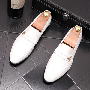 Luxury Designer Bee Men's dress shoes genuine leather business office men shoes High quality classic wedding party oxford shoes D13