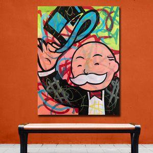 Monopoly Art Group Graffiti Pop Art Canvas Painting Print Sala de estar Decoración para el hogar Modern Wall Art Pintura al óleo Poster sin marco
