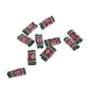 10x Knitted Fabric Hair Dreadlock Beads Tubes For DIY Braids Pendants