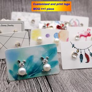 Exhibición de la joyería de 3 * 5 tarjeta de visualización 100 piezas de joyería Pendientes tarjeta zarcillos de embalaje Etiqueta colgante del rectángulo titular Logotipo personalizado