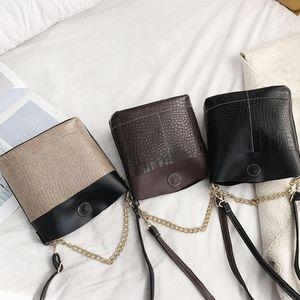 Imitation Alligator Messenger Handtaschen-Muster-Ketten-Schulter beiläufige Frauen-PU-Leder-Splicing Farbe Crossbody Eimer Taschen
