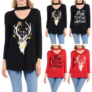 New Womens Black&Red Cotton Deer Print Loose Long Sleeve Blouse Shirts Top V-Neck Chocker Blouses Shirt Clothes Tops Jumper
