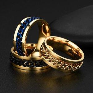 Hiphop из нержавеющей стали римская цифра Twist цепи Кольца для мужчин Punk Rock Gold Black Байкер вращающееся кольцо ювелирные подарки