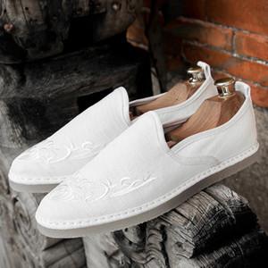 Designer Herren Schuhe Männlich Hemp Espadrilles-hochwertige Stickerei Designer Handmade Fischer Schuhe Slip-on Männer Loafers Wohnungen Q-593