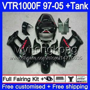 Cuerpo para HONDA SuperHawk VTR1000F 97 98 99 00 01 02 256HM.25 VTR1000 F VTR 1000 F 1000F Stock negro 1997 1998 1999 2000 2001 2002 Carenado