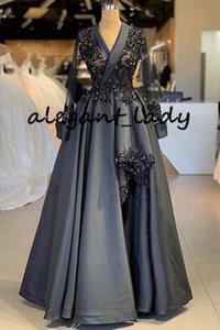 Dark Grey Satin Arabic Style Damen Abendkleider mit Langarm 2020 Lace Perlen Stain Kaftan Arabic Occasion Prom Outfit Gown