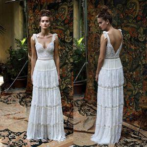 2020 Nouvelle Lihi Hod Backless Bohème Robes de mariée en dentelle Une ligne de plage Appliques robe de mariée longueur de plancher Bow Boho Robes de mariée 820