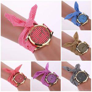 Pulseira de relógio mulheres famosa marca de tecido de quartzo lindamente assistir para meninas presente senhoras pano de flor relógio de pulso