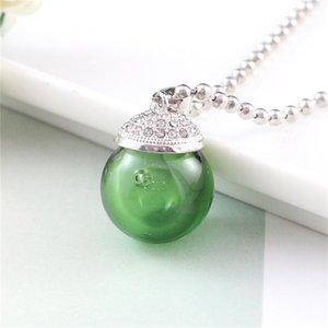 Mini Glass Perfume Oil Bottle Diffuser Ball Beads Chain Pendant Necklace