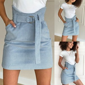 Jupes Mode A-ligne dames vert Mini jupe taille haute Fleece Vintage Jupes de poche d'été Ceinture Adjust 2020