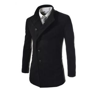 Winter Autumn Men Warm Slim Jackets Long Sleeve Single-breasted Outerwear Coats Wool Coat Gray Black Plus Size M-3XL