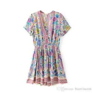 Women Purple love-birds floral print mini Chic dress V-neck short sleeve Boho dress new summer 2019 beach Casual holiday seaside dresses