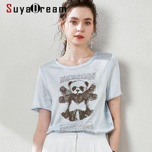 SuyaDream satén de la blusa de seda 100% de la panda de manga corta cuello redondo ocasional de la camisa 2020 de verano elegante mujeres superiores