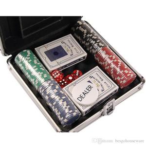 Entretenimiento Juegos Suministros caja de aluminio de fichas de póquer conjunto de monedas 4cm de tarjetas de plástico Virutas de póker de la viruta de seis caras Dados 100 aC 200pcs BH1305