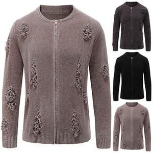 Casual Homme Kleidung der Männer plus Größe Loch Sweater Fashion Stehkragen Zipper Solid Color Strickjacke