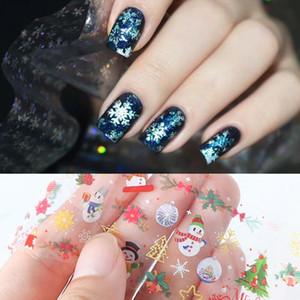 Snow Flower Elk рождественского подарка для ногтей наклейки 10 шт / пакет Рождество ногтей Наклейки надписи DIY украшения Маникюр Зимний дизайн