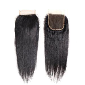 Малазийский Straight Virgin Hair 4 * 4 Закрытие 8А Человека Закрытие волос Free / средняя часть Natural Black Silk Straight Швейцарский шнурок Top Closure