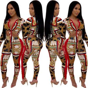 Calças Moda Bow Tie Womens Dois Pants Pedaço MULIT Imprimir Womens Dois conjuntos de peças Sexy Skiny V Neck Two Piece