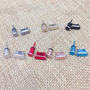 Metal micro puerto de carga USB + puerto del auricular del enchufe del polvo del androide móvil 3,5 mm tapón auricular de teléfono Recuperar Pin de la tarjeta