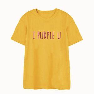 Okoufen Stile coreano Kpop Streetwear I Viola U T Shirt Divertente Carino Moda Unisex Lettera Stampa O-Collo T-Shirt T-Shirt Plus Size Y19051301