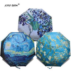 LIKE RAIN Марка складной зонтик Женский ветрозащитный Paraguas Ван Картина маслом Зонтик дождя Женщины качества Зонтики T200117