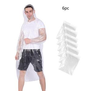 6pcs desechable impermeable para adultos emergencia transparente capa de lluvia impermeable al aire libre que va de excursión de la capilla ropa impermeable