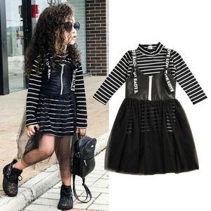 Herbst-Kind-Mädchen-Prinzessin Kleidung 2-7Y Baby-Kleidung Striped Long Tops T-Shirt-Riemen-Zipper-Spitze-Tulle Röcke 2Pcs Outfit