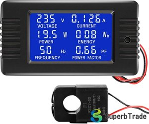 AC 80-260V 100A CRS-022B LCD Display Digital Current Voltage Power Energy Frequency Power Factor Multimeter Ammeter Voltmeter Split Core