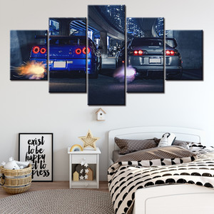 5 peça HD Imprimir Pinturas Grande Gtr Skyline VS Supra Car Modern decorativos em Canvas Art parede para Home Decor Wall Decor