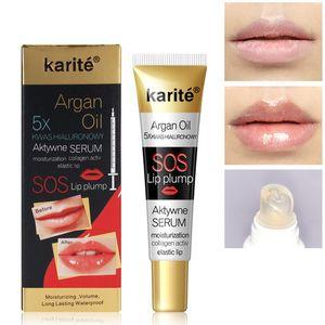 Huile d'Argan instantanée Lip Plumper Hydratante Réparatrice Réduire Lip ridules Brighten collagène Lip Plumper huile 6pcs