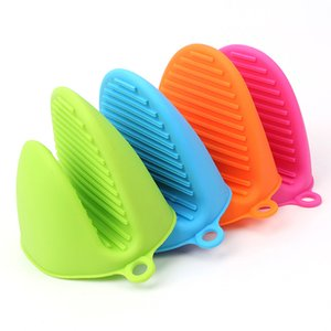 Silicone Heat Resistant Oven Mitts Kitchen Cooking Gadgets Baking Gloves Insulation Non Stick Anti-slip Pot Bowel Holder Clip