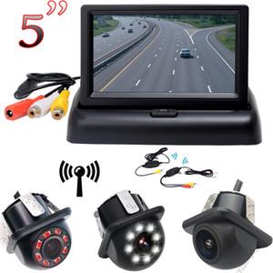 سيارة لاسلكي كاميرا الرؤية الخلفية TFT LCD العرض كاميرا عكس 5 بوصة قابلة للطي مراقبة HD الرقمي اللون مدخلات الفيديو شاشة NTSC PAL