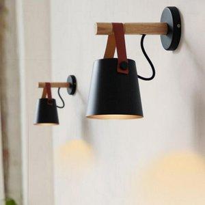 85-220V LED مصباح الجدار الخشبي E27 الحديثة الشمال تصميم غرفة المعيشة جدار السرير مصباح ليلة الخفيفة الشمعدانات حزام عاكس الضوء