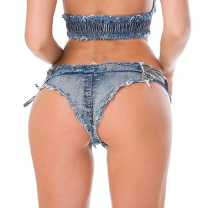 20200101 New side tie low waist short denim briefs hot pants