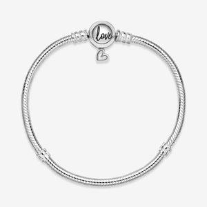 2020 New 925 Sterling Silve Bracelet Moments Hand-paint Love Heart Buckle Basic Snake Chain Fit Original Charm Women DIY Jewelry