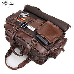 """Herren Echtes Leder Aktentasche 16 """"Big Echtes Leder Laptop Tote Bag Rindsleder Business Bag Doppelschicht Messenger Bag Y19051802"""