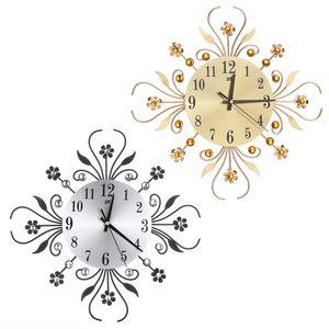 Modern Metal Large Wall Clocks New Flower Diamond Rhinestone Silent Home Decor DIY Living Room Antique Style
