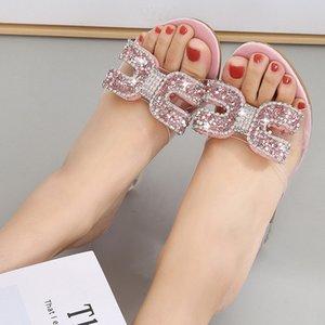YEELOCA New hauts talons cristal sandales femmes été Peep Toe Chaussons Femme strass talon transparent Wedges Sandales Pompes D08