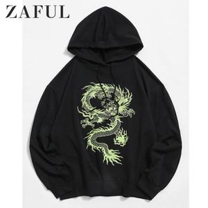 ZAFUL 후드 스웨터 남성 용 그래픽 졸라 매는 끈 드롭 숄더 까마귀 남성복 캐주얼 가을면 드래곤 코트 남성