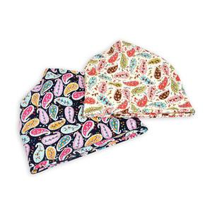 Hot! Beanie Cap Scarf Floral Cashew Printed Sun Shade Breathable Elastic Cotton Hat Neck Warmer Travel Headwear