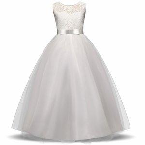High-end Kızlar Düğün Çiçek Kız Elbise Gelinlik Giysileri Prenses Abiye Genç Kız Beyaz Tül Abiye 5 14 Y Y19061303