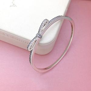 Damen 925 Sterling Silber CZ Diamant Bogen Armreif Armbänder Original Logo Box für Pandora Echt Silber Armreif Frauen Geschenke Geschenk Schmuck