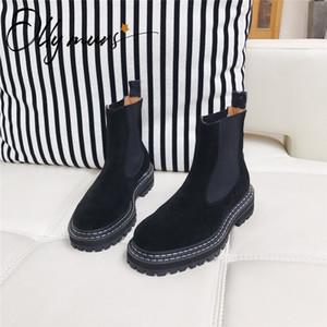 OllyMurs Nueva Negro mujeres del cuero genuino botas del tobillo Ronda de deslizamiento del dedo del pie en papel grueso tacón bajo las botas de las mujeres del invierno del otoño zapatos de la mujer