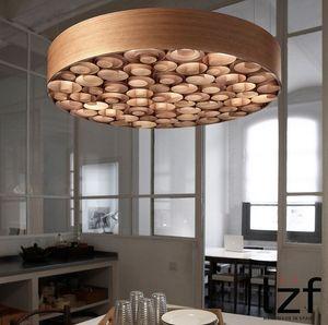 Moderna de madera del color del arte LED lámpara del techo del restaurante Hotel Cafe Bar accesorios de iluminación colgante Dormitorio Lámparas Sala de estar Estudio MYY