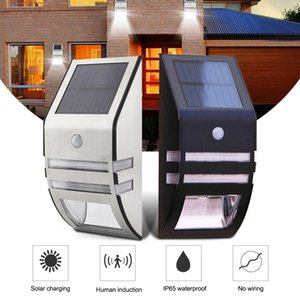 LED Solar Light Outdoor Lampada solare PIR Sensore di movimento Solar Powered impermeabile applique da parete per Garden Yard Path Decorazione luce