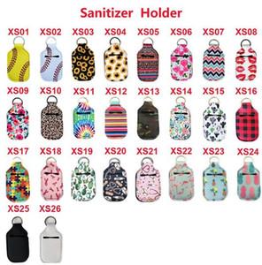DHL neoprene Hand Sanitizer Bottle Holder portachiavi Borse 30ML 10.3 * 6cm Portachiavi a mano sapone Bottle Holder 26 colori